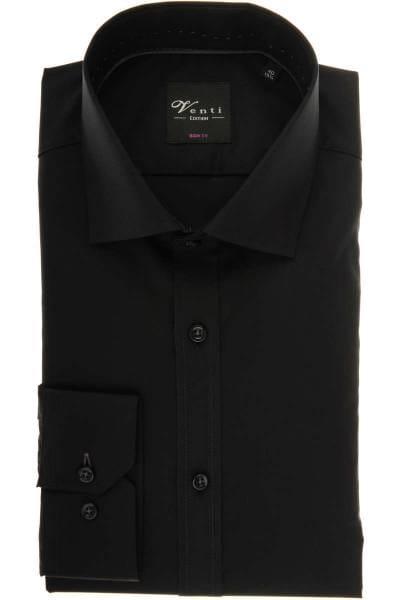 Venti Body Fit Hemd schwarz, Einfarbig