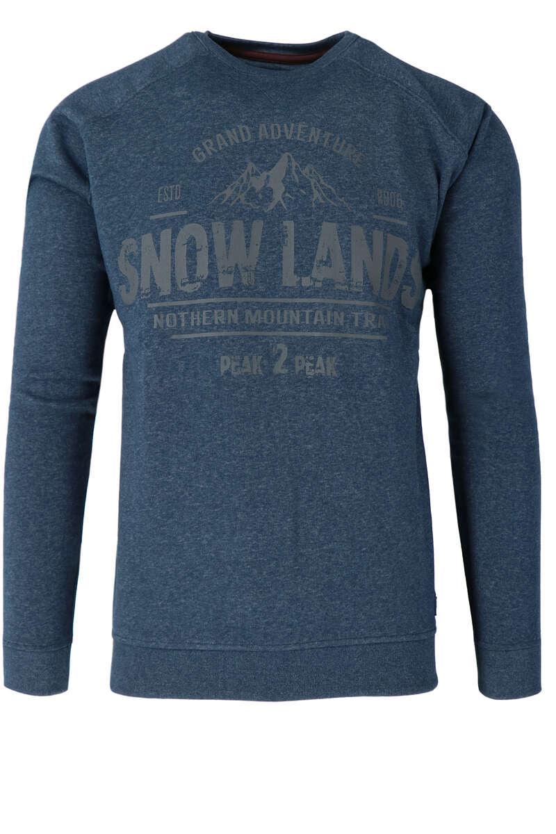 Redmond Sweatshirt Rundhals blau, gemustert S