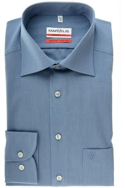 Marvelis Hemd - Modern Fit - blau, Einfarbig