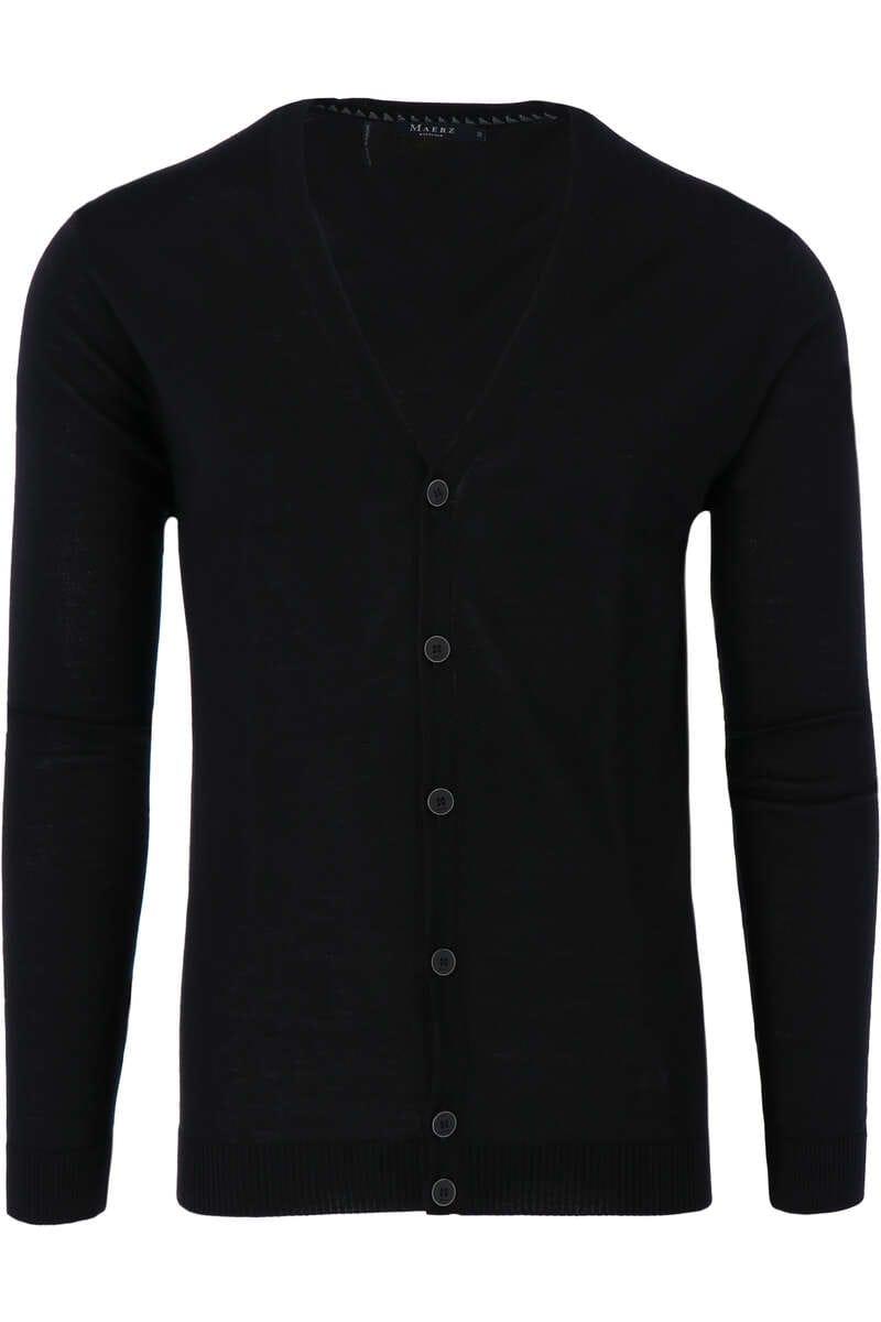 MAERZ Modern Fit Cardigan Knopfleiste schwarz, einfarbig 50