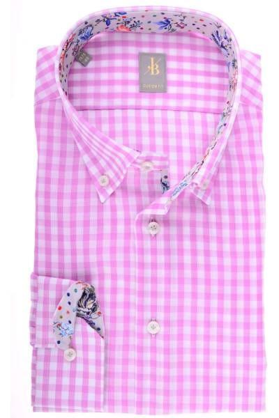 Jacques Britt Custom Fit Hemd pink/weiss, Kariert