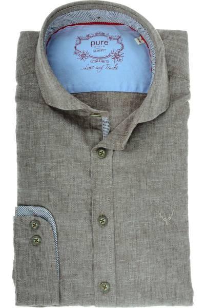 Pure Slim Fit Leinenhemd braun/weiss, Einfarbig