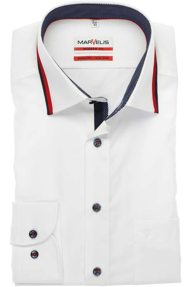 MARVELiS Hemd Weiß Body Fit mit extra langen Ärmel 69cm 100/% Baumwolle NEU