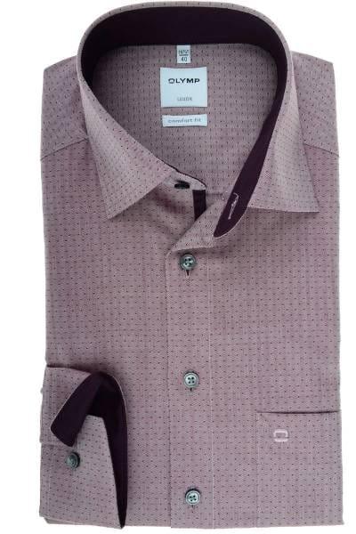 Olymp Luxor Comfort Fit Hemd chianti, Gemustert