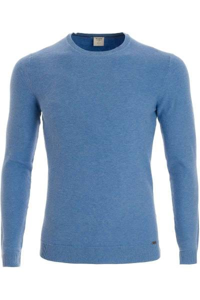 OLYMP Level Five Body Fit Strickpullover Rundhals eisblau, einfarbig