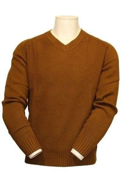 Olymp Strick - V-Ausschnitt Pullover - karamell