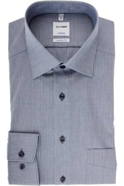 Olymp Tendenz Regular Fit Hemd marine/grau, Gemustert
