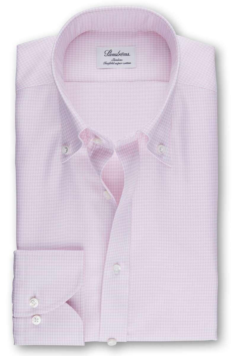Stenströms Slimline Hemd pink, Hahnentritt 39 - M