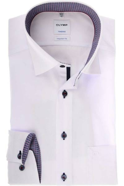 Olymp Tendenz Regular Fit Hemd weiss, Einfarbig