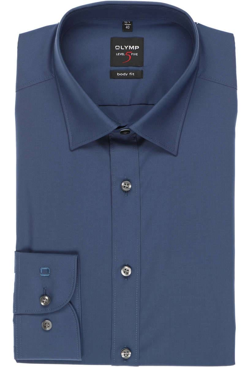 Olymp Level Five Body Fit Hemd rauchblau, Einfarbig