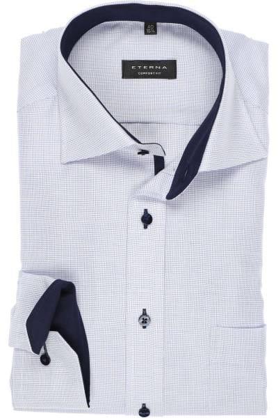 Eterna Comfort Fit Hemd blau, Strukturiert