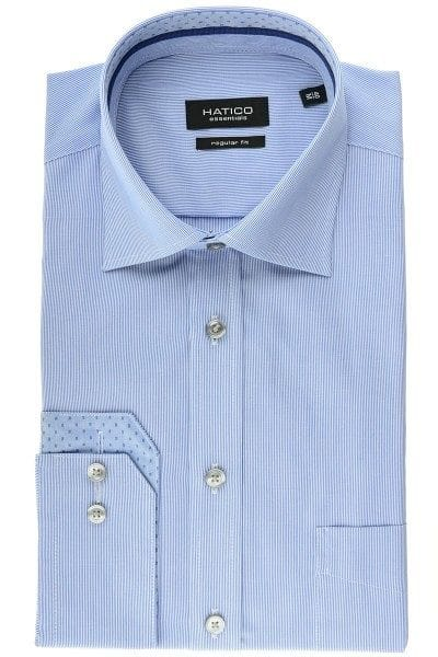 Hatico Hemd - Regular Fit - mittelblau, Gestreift