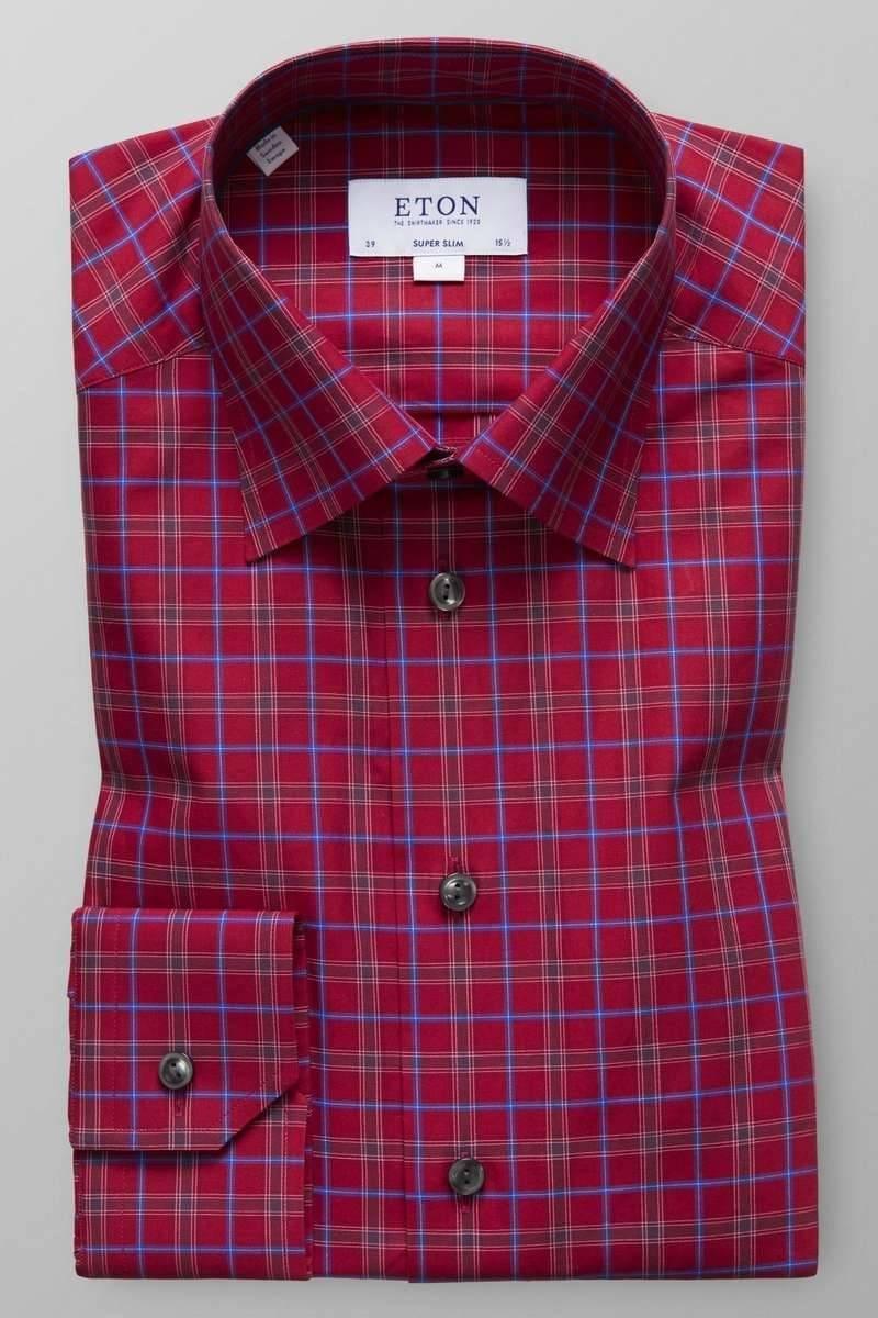 ETON Super Slim Hemd rot/blau, Kariert