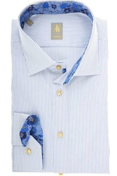 Jacques Britt Custom Fit Hemd blau/weiss, Feinstreifen