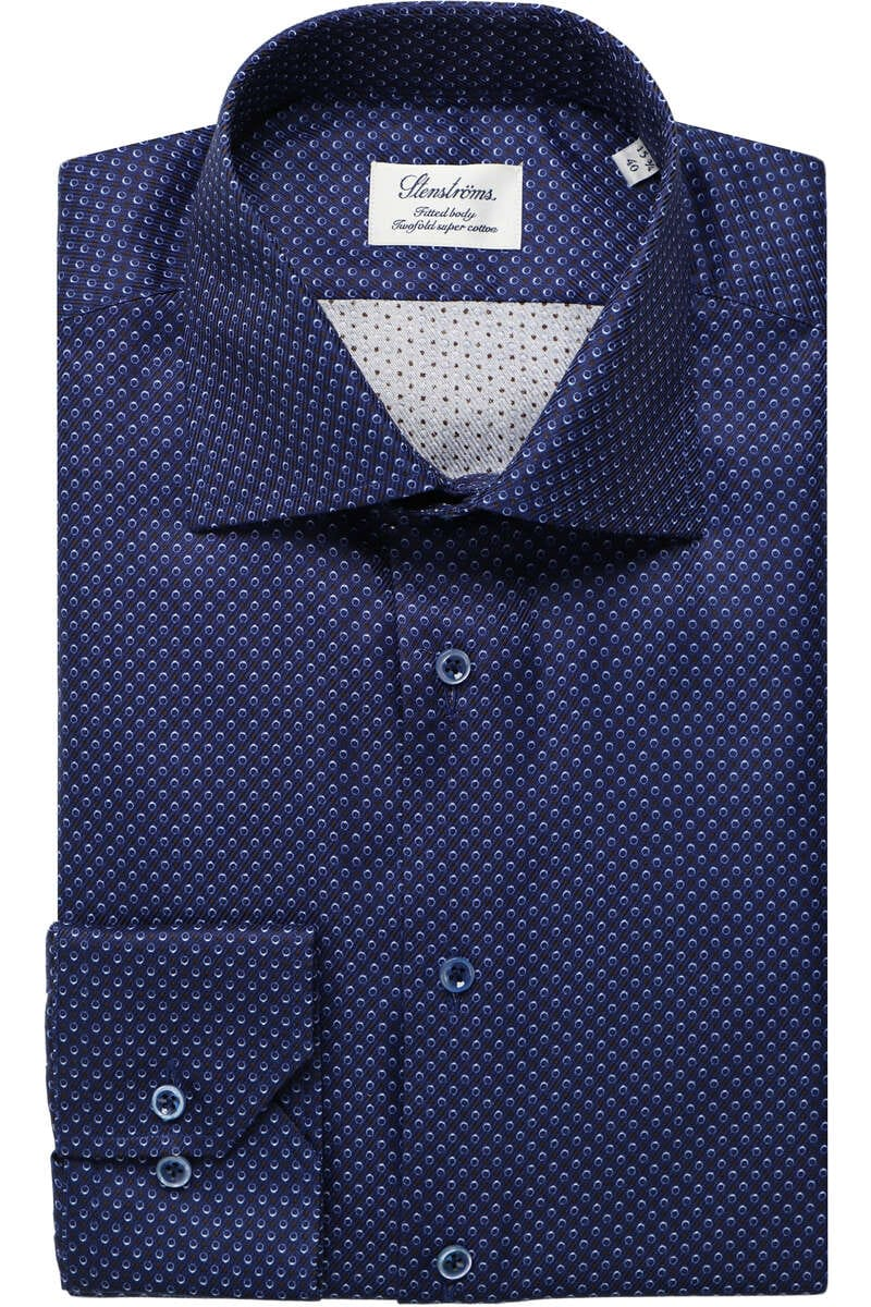 Stenströms Fitted Body Hemd dunkelblau, Gemustert 44 - XL