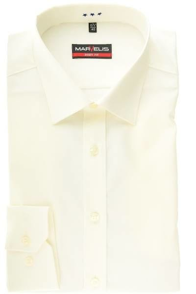 Marvelis Hemd - Body Fit - beige, Einfarbig