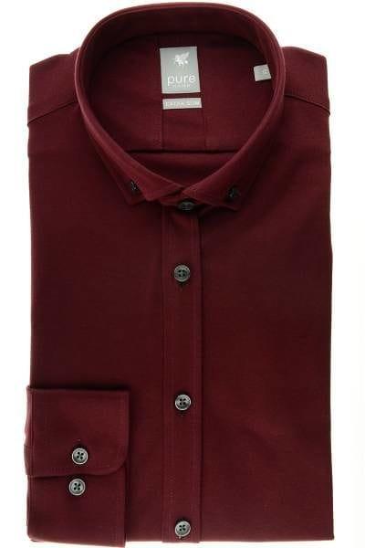 Pure Hemd - Extra Slim - beere, Einfarbig