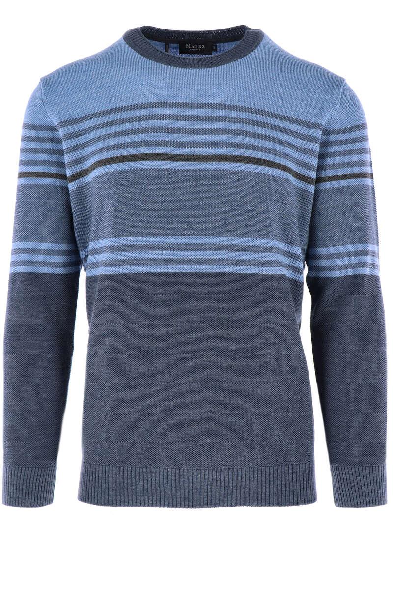 MAERZ Modern Fit Pullover V-Ausschnitt blau, gestreift 50