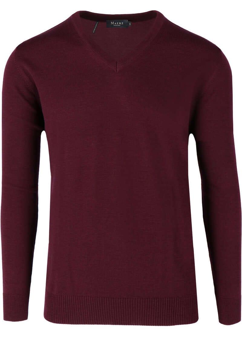 Maerz Classic Fit Pullover V-Ausschnitt violett, einfarbig 50