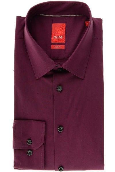 Pure Hemd - Slim Fit - bordeaux, Einfarbig