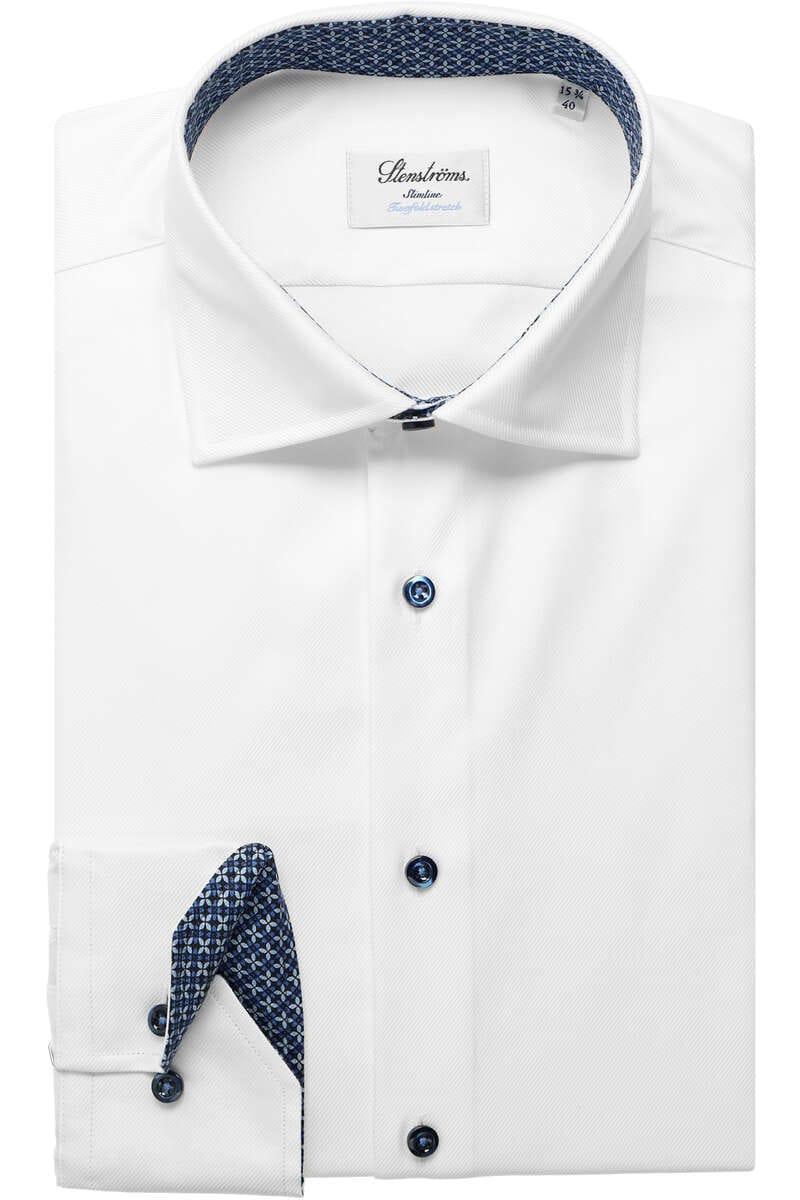 Stenströms Slimline Hemd weiss, Einfarbig 42 - L