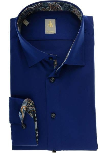 Jacques Britt Custom Fit Hemd royal, Einfarbig