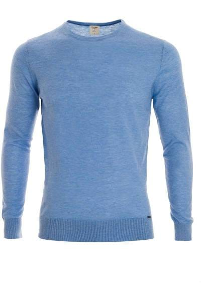 OLYMP Level Five Body Fit Strickpullover Rundhals aqua, einfarbig
