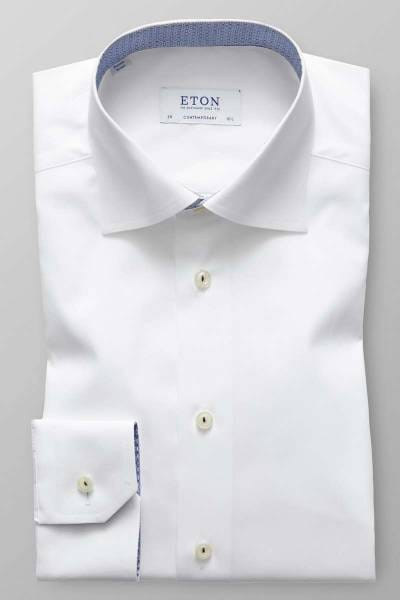 Eton Contemporary Fit Hemd weiss, Gemustert