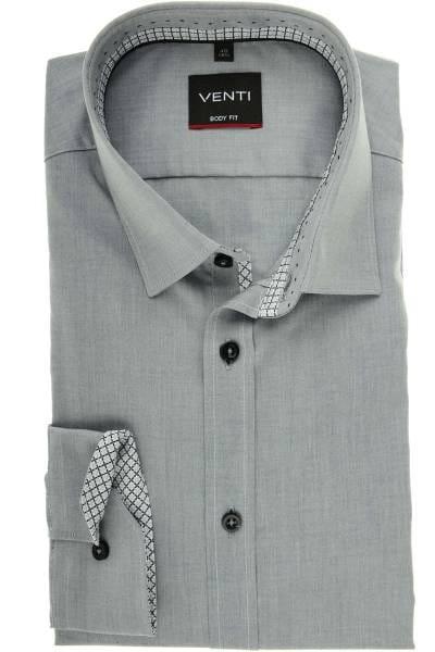 Venti Body Fit Hemd grau, Einfarbig