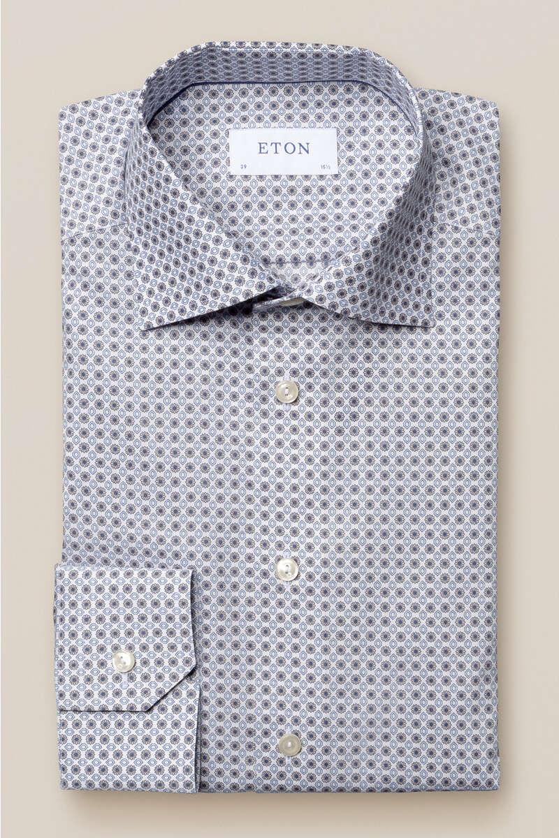 ETON Contemporary Fit Hemd braun/weiss, Gemustert 41 - L