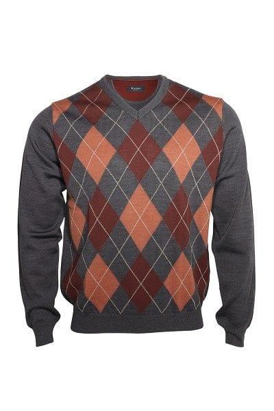 März Strick - V-Ausschnitt Pullover - rot/grau