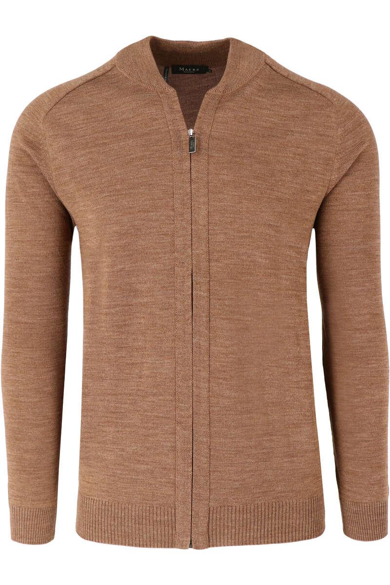 MAERZ Classic Fit Cardigan Zip braun, einfarbig 50