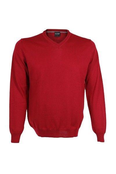 Olymp Strickpullover V-Ausschnitt Pullover - rot