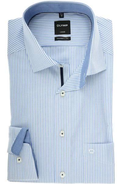 OLYMP Luxor Modern Fit Hemd royal/weiss, Gestreift