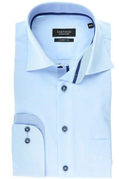 Hatico Hemd - Modern Fit - hellblau, Einfarbig