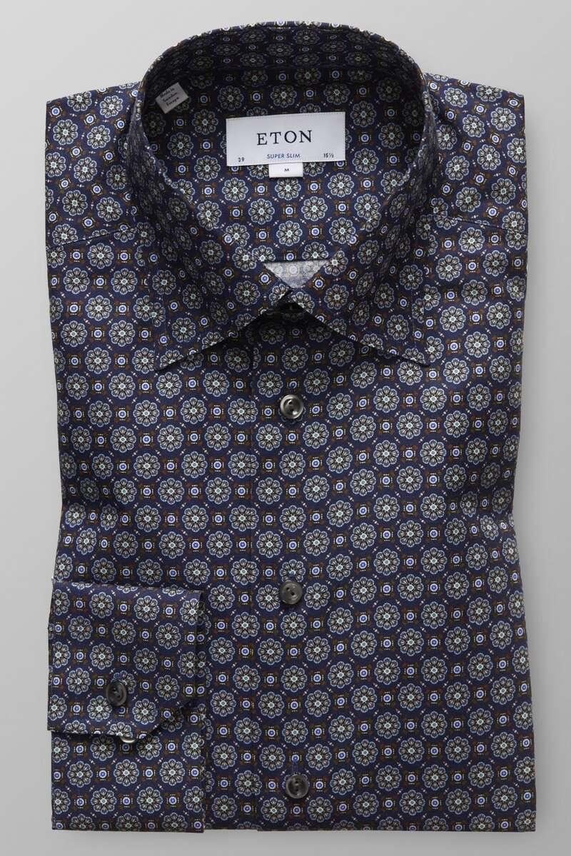 ETON Super Slim Hemd blau/braun, Gemustert 42 - L