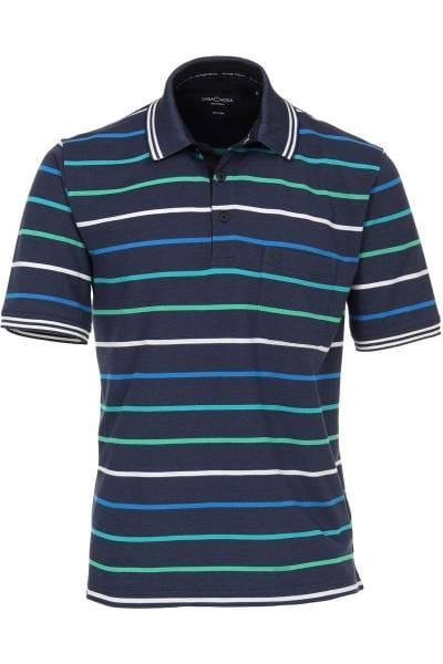 Casa Moda Poloshirt blau/grün, Gestreift