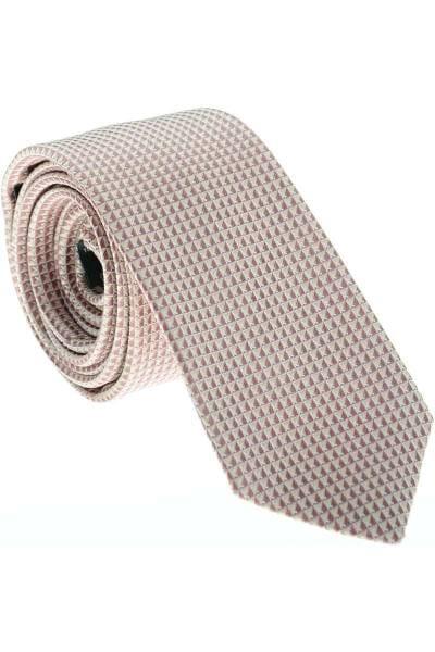OLYMP Slim Krawatte Aus 100% Seide Pink/beige, Gemustert