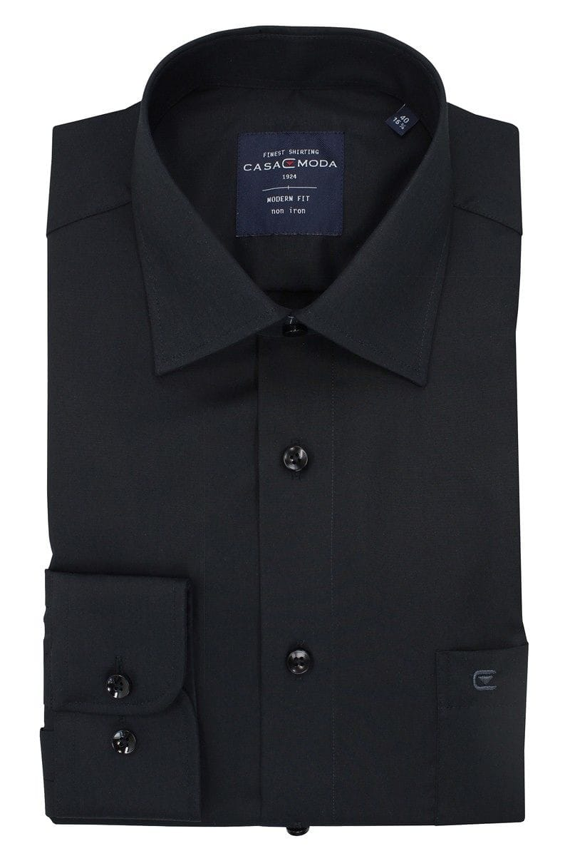 Casa Moda Hemd - Modern Fit - black, One Colour