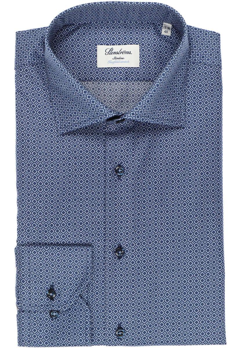 Stenströms Slimline Hemd blau/weiss, Gemustert 41 - L