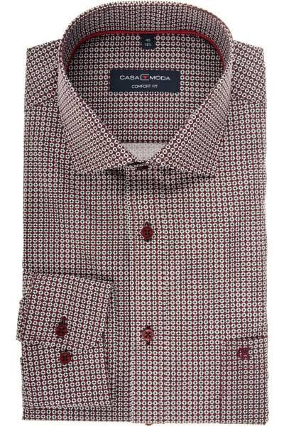 Casa Moda Comfort Fit Hemd bordeaux/weiss, Gemustert