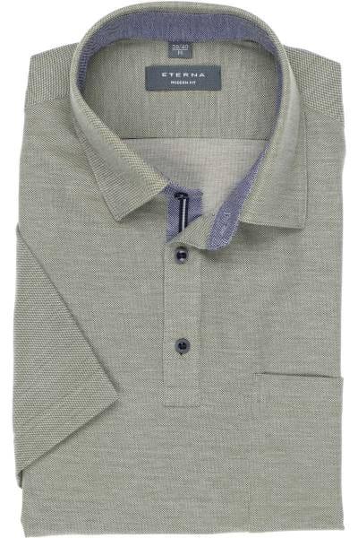 ETERNA Modern Fit Poloshirt oliv/grau, Einfarbig