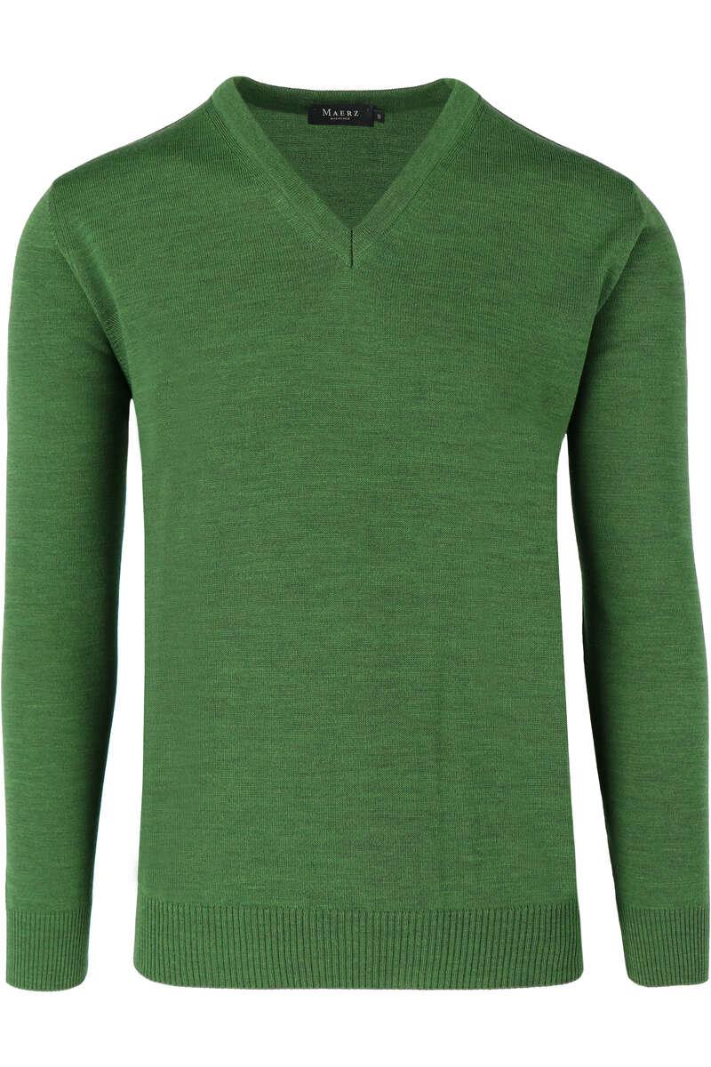 MAERZ Classic Fit Pullover V-Ausschnitt dunkelgrün, einfarbig 50