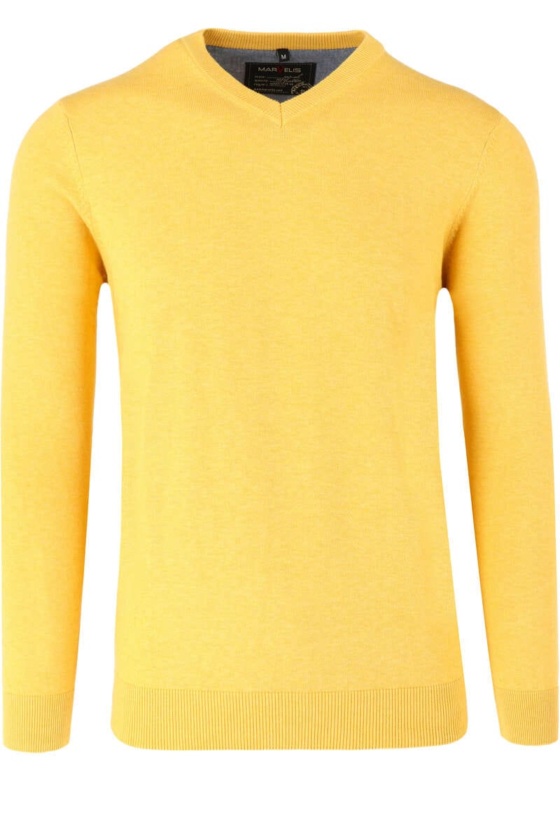 Marvelis Casual Modern Fit Pullover V-Ausschnitt gelb, einfarbig M