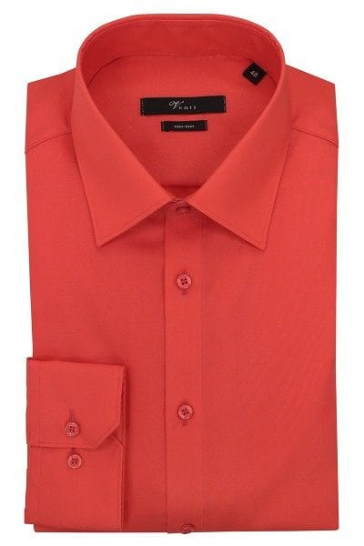 Venti Hemd - Modern Fit - rot-orange, Einfarbig