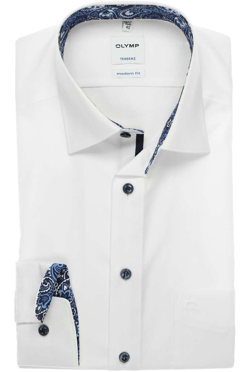 OLYMP Tendenz Modern Fit Hemd weiss, Einfarbig 40 - M