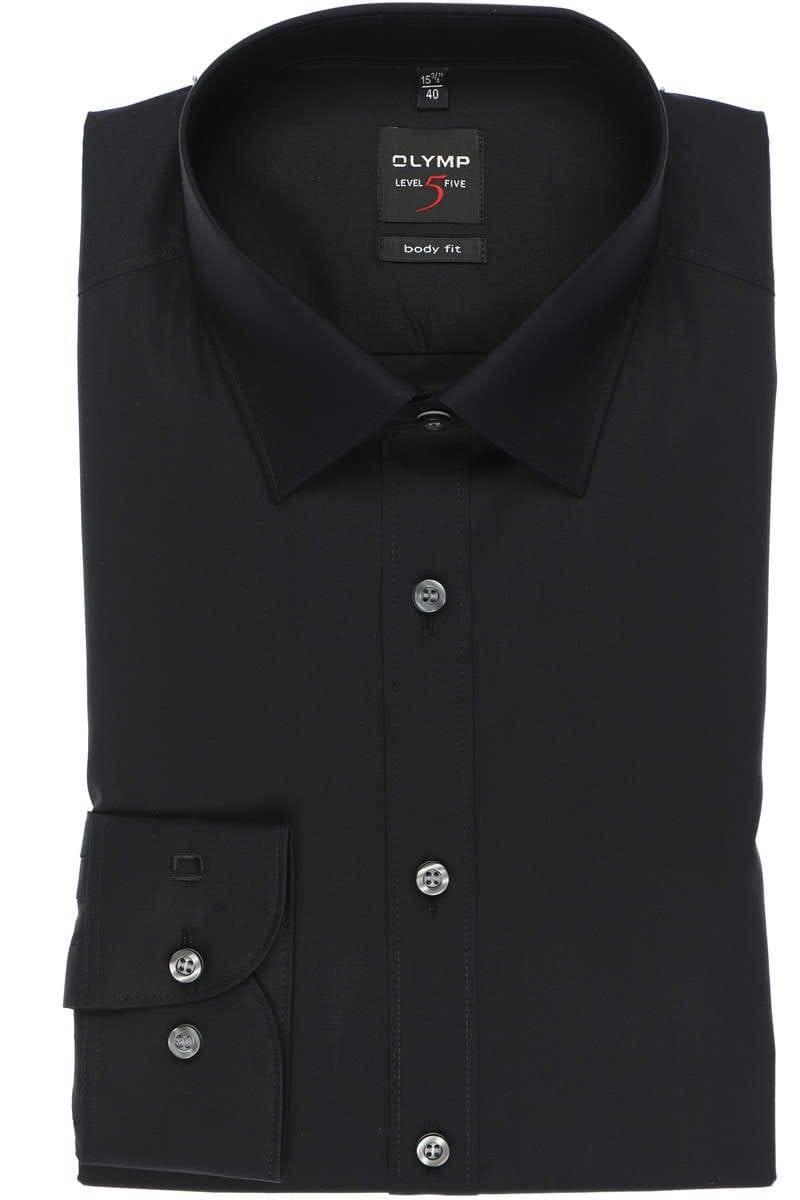Olymp Level Five Body Fit Hemd schwarz, Einfarbig