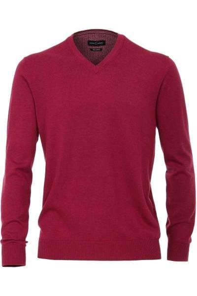 Casa Moda Strickpullover V-Ausschnitt magenta, einfarbig