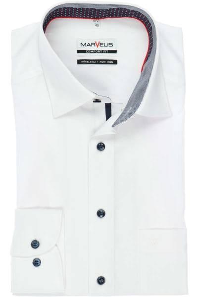 Hochwertiges Hemd Comfort Farbe WeissEinfarbig Fit Der In Marvelis WE2HDY9I