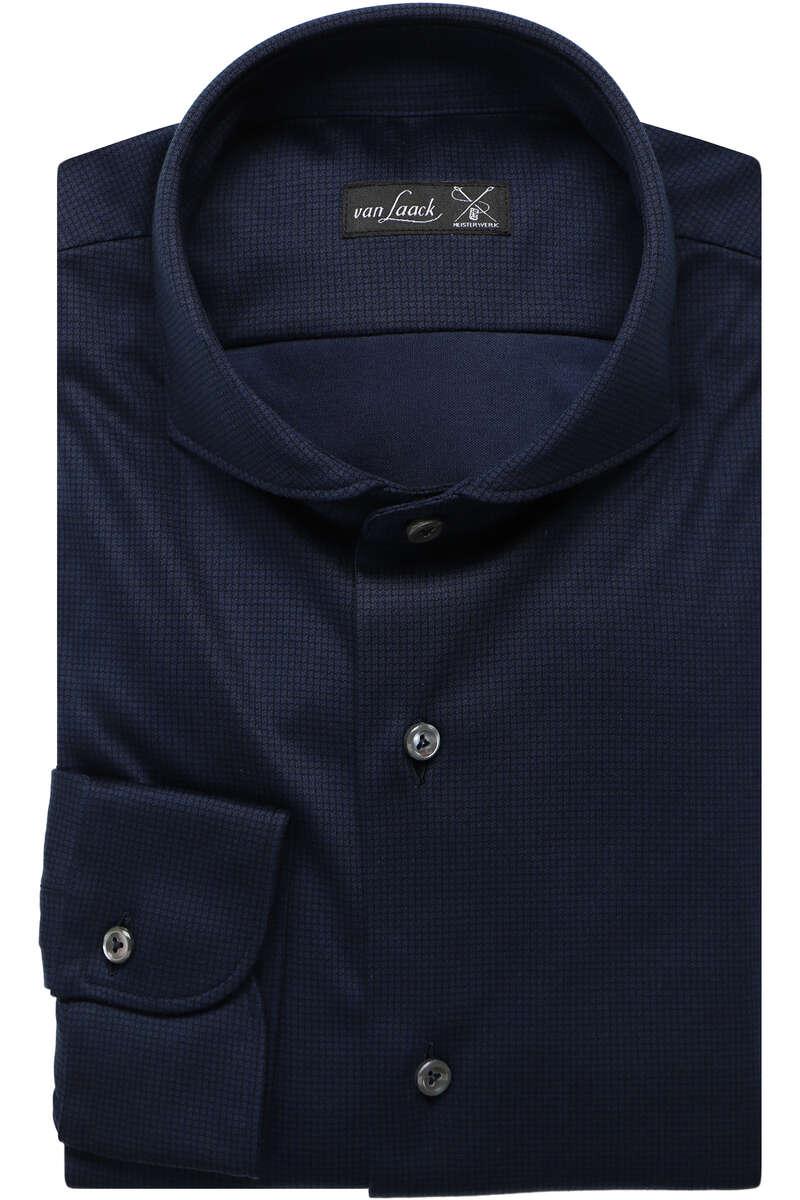 Van Laack Tailor Fit Jerseyhemd royal, Gemustert M